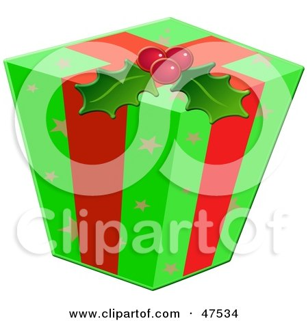 Royalty-Free (RF) Clipart Illustration of a Christmas Gift Wrapped In Ribbons, Holly And Green Paper With Star Patterns by Prawny