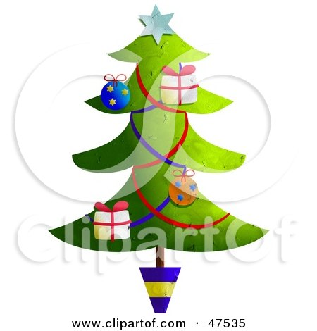 Royalty-Free (RF) Clipart Illustration of a Potted And Decorated Christmas Tree With Garlands And Ornaments by Prawny