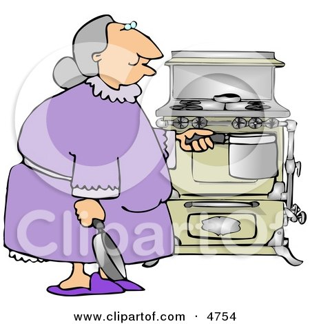 Senior Citizen Preparing to Cook a Home cooked Meal Clipart by djart