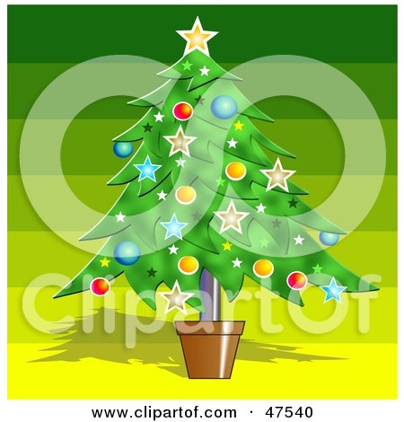 Royalty-Free (RF) Clipart Illustration of a Potted Christmas Tree Adorned With Decorations by Prawny
