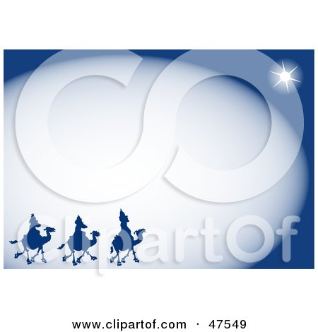Royalty-Free (RF) Clipart Illustration of a Blue Border Of The Three Wise Men And The Star Of Bethlehem by Prawny