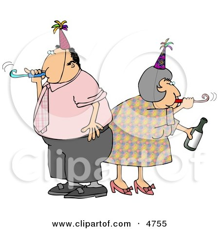 Husband and Wife Partying Together On New Years Eve Clipart by djart