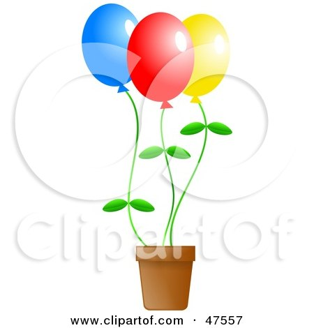 Royalty-Free (RF) Clipart Illustration of Colorful Flower Balloons In A Pot by Prawny