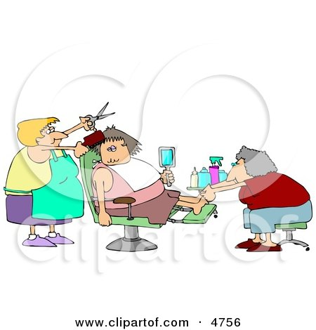 Clipart Three Girlfriends Talking And Getting Pedicures In