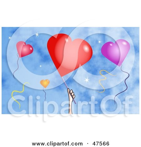 Royalty-Free (RF) Clipart Illustration of a Hand And Heart Balloons Against A Blue Sky by Prawny