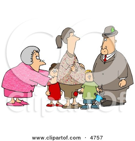 Grandma and Grandpa Standing with Grandchildren and Pregnant Daughter Clipart by djart