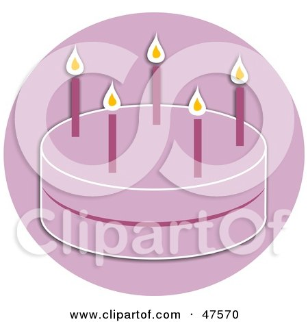 Royalty-Free (RF) Clipart Illustration of a Girl's Pink Birthday Party Cake With Candles by Prawny