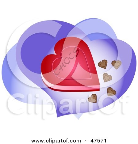 Royalty-Free (RF) Clipart Illustration of a Heart Shaped Box Of Chocolates On Purple Hearts by Prawny