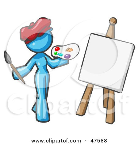 Royalty-Free (RF) Clipart Illustration of a Blue Design Mascot Woman Artist Painting A Portrait by Leo Blanchette