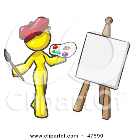 Royalty-Free (RF) Clipart Illustration of a Yellow Design Mascot Woman Artist Painting A Portrait by Leo Blanchette