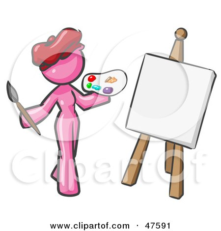 Royalty-Free (RF) Clipart Illustration of a Pink Design Mascot Woman Artist Painting A Portrait by Leo Blanchette