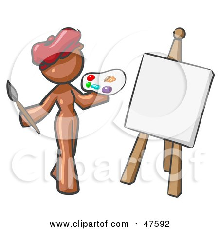 Royalty-Free (RF) Clipart Illustration of a Brown Design Mascot Woman Artist Painting A Portrait by Leo Blanchette