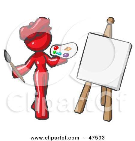 Royalty-Free (RF) Clipart Illustration of a Red Design Mascot Woman Artist Painting A Portrait by Leo Blanchette