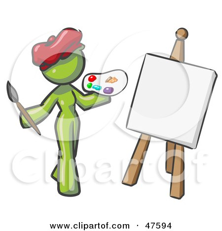 Royalty-Free (RF) Clipart Illustration of a Green Design Mascot Woman Artist Painting A Portrait by Leo Blanchette