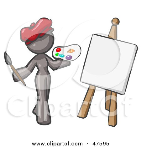 Royalty-Free (RF) Clipart Illustration of a Gray Design Mascot Woman Artist Painting A Portrait by Leo Blanchette