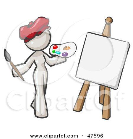 Royalty-Free (RF) Clipart Illustration of a White Design Mascot Woman Artist Painting A Portrait by Leo Blanchette
