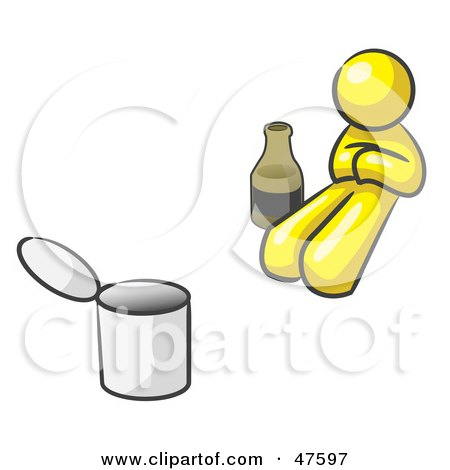 Yellow Design Mascot Man Bum With Alcohol And A Can Posters, Art Prints
