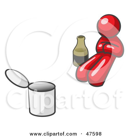 Royalty-Free (RF) Clipart Illustration of a Red Design Mascot Man Bum With Alcohol And A Can by Leo Blanchette