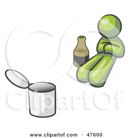 Royalty-Free (RF) Clipart Illustration of a Green Design Mascot Man Bum With Alcohol And A Can by Leo Blanchette