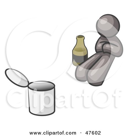 Royalty-Free (RF) Clipart Illustration of a Gray Design Mascot Man Bum With Alcohol And A Can by Leo Blanchette