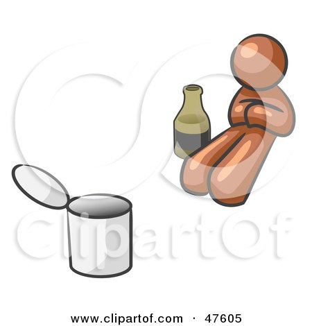 Royalty-Free (RF) Clipart Illustration of a Brown Design Mascot Man Bum With Alcohol And A Can by Leo Blanchette