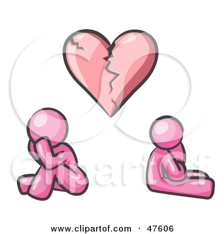 Royalty-Free (RF) Clipart Illustration of a Pink Design Mascot Man And Woman Under A Broken Heart by Leo Blanchette