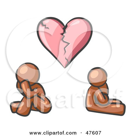 Royalty-Free (RF) Clipart Illustration of a Brown Design Mascot Man And Woman Under A Broken Heart by Leo Blanchette