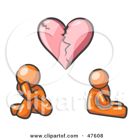 Royalty-Free (RF) Clipart Illustration of an Orange Design Mascot Man And Woman Under A Broken Heart by Leo Blanchette