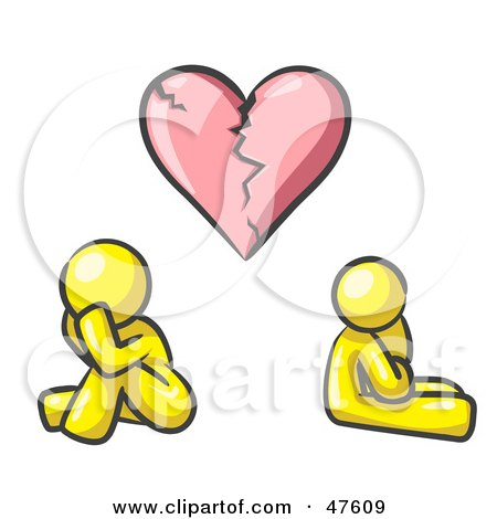 Royalty-Free (RF) Clipart Illustration of a Yellow Design Mascot Man And Woman Under A Broken Heart by Leo Blanchette