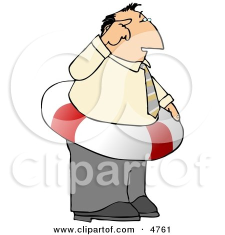 Thinking Ahead Businessman Wearing a Life Preserver Float Tube Around His Waist - Concept Posters, Art Prints
