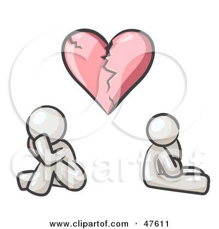 Royalty-Free (RF) Clipart Illustration of a White Design Mascot Man And Woman Under A Broken Heart by Leo Blanchette