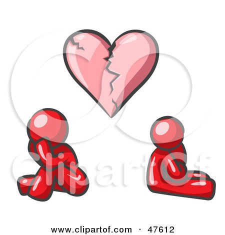 Royalty-Free (RF) Clipart Illustration of a Red Design Mascot Man And Woman Under A Broken Heart by Leo Blanchette