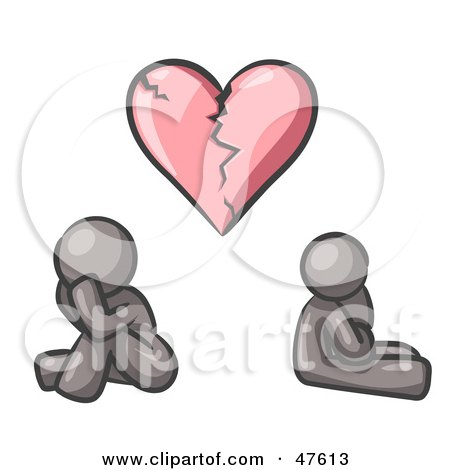 Royalty-Free (RF) Clipart Illustration of a Gray Design Mascot Man And Woman Under A Broken Heart by Leo Blanchette