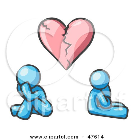 Royalty-Free (RF) Clipart Illustration of a Blue Design Mascot Man And Woman Under A Broken Heart by Leo Blanchette