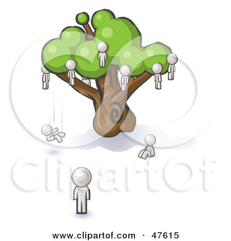 Royalty-Free (RF) Clipart Illustration of a White Design Mascot Man Watching Others Fall From The Family Tree by Leo Blanchette