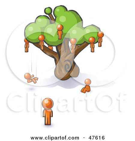 Royalty-Free (RF) Clipart Illustration of an Orange Design Mascot Man Watching Others Fall From The Family Tree by Leo Blanchette