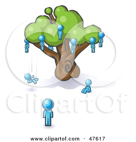 Royalty-Free (RF) Clipart Illustration of a Blue Design Mascot Man Watching Others Fall From The Family Tree by Leo Blanchette