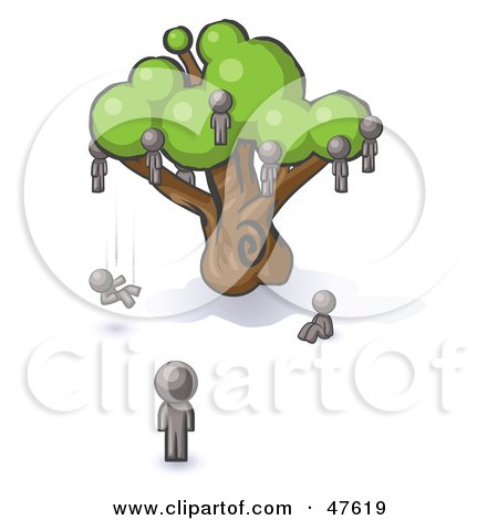 Royalty-Free (RF) Clipart Illustration of a Gray Design Mascot Man Watching Others Fall From The Family Tree by Leo Blanchette