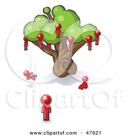 Royalty-Free (RF) Clipart Illustration of a Red Design Mascot Man Watching Others Fall From The Family Tree by Leo Blanchette