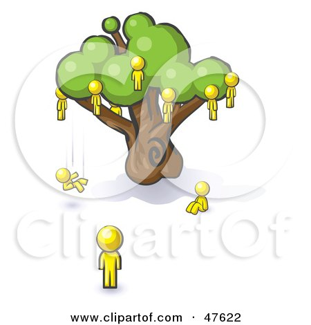 Royalty-Free (RF) Clipart Illustration of a Yellow Design Mascot Man Watching Others Fall From The Family Tree by Leo Blanchette