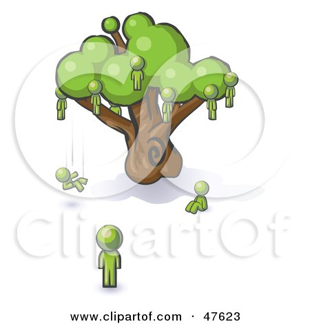 Royalty-Free (RF) Clipart Illustration of a Green Design Mascot Man Watching Others Fall From The Family Tree by Leo Blanchette
