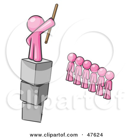 Royalty-Free (RF) Clipart Illustration of a Pink Design Mascot Man Ruling And Punishing Others by Leo Blanchette