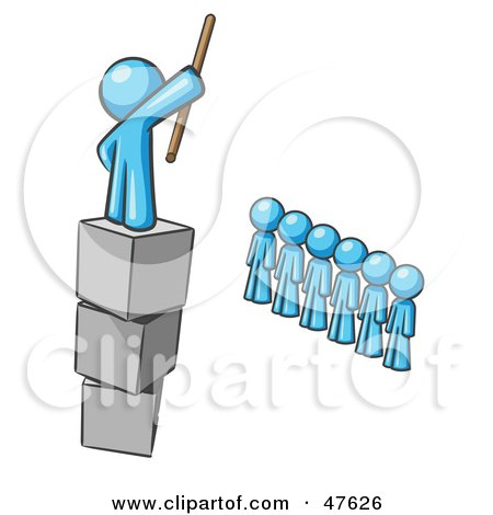Royalty-Free (RF) Clipart Illustration of a Blue Design Mascot Man Ruling And Punishing Others by Leo Blanchette