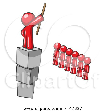 Royalty-Free (RF) Clipart Illustration of a Red Design Mascot Man Ruling And Punishing Others by Leo Blanchette