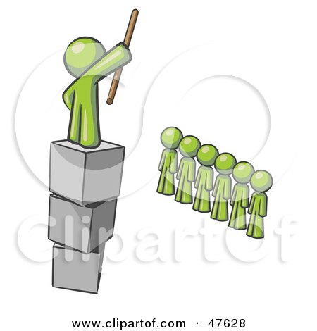 Royalty-Free (RF) Clipart Illustration of a Green Design Mascot Man Ruling And Punishing Others by Leo Blanchette