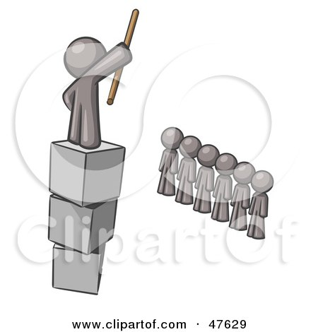 Royalty-Free (RF) Clipart Illustration of a Gray Design Mascot Man Ruling And Punishing Others by Leo Blanchette