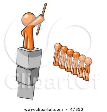 Royalty-Free (RF) Clipart Illustration of an Orange Design Mascot Man Ruling And Punishing Others by Leo Blanchette