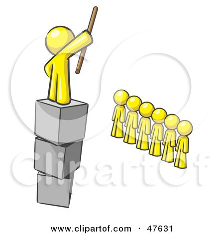 Royalty-Free (RF) Clipart Illustration of a Yellow Design Mascot Man Ruling And Punishing Others by Leo Blanchette