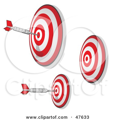 Royalty-Free (RF) Clipart Illustration of Three Targets With Darts On The Bullseyes by Leo Blanchette