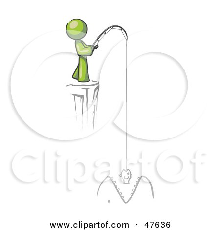 Royalty-Free (RF) Clipart Illustration of a Green Design Mascot Man Fishing On A Cliff by Leo Blanchette